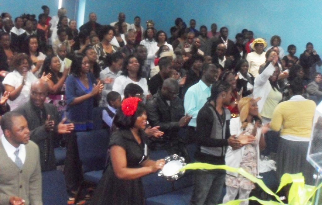 wide shot of church service in action